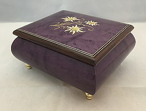 Italian Floral Edelweiss Inlaid Musical Ring Box