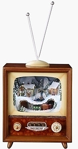 Animated Christmas Scene T.V Music Box