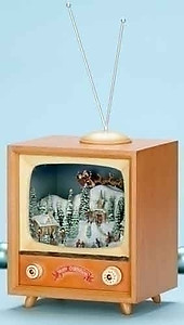 Animated Christmas Skaters and T.V Music Box