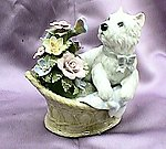 Pup and flowers in basket #49105