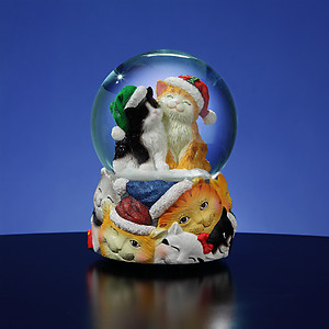 Christmas Cats Musical Snow Globe