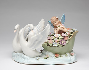 Swans with Fairy Porcelain Music Box