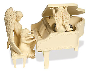 Angel with Girl Piano Musical Figurine