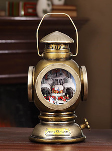Christmas Village Musical Brass Lantern