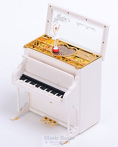 Upright Musical White Piano With Ballerina