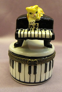 Baby Grand Piano Limoge Style Trinket Box