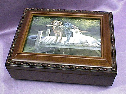 Labrador Dogs Rosewood Music Box # 3dogs