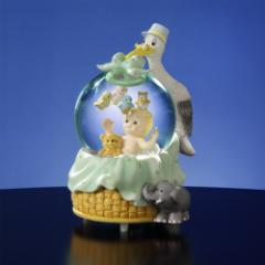 Baby With Stork Musical Water Globe