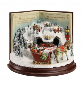 Santa Book Village Music Box