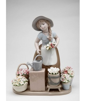 Little Girl with Flowers Porcelain Figurine