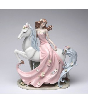 Enchanting Lady with Horse Porcelain Figurine