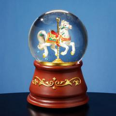 Rotating Single Horse Musical Water Globe