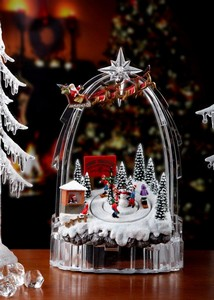 Santa Over Ski Slope Music Box