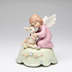 Porcelain Angel with Deer Music Box #10373