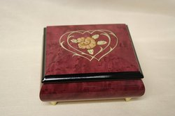 Italian Red Double Heart Inlaid Ring Box #04CCRed