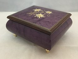 Italian Floral Edelweiss Inlaid Musical Ring Box #17Plum
