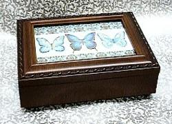 Blue Butterflies Rosewood Box --- Blue #BB2044