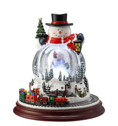 Double Snowman Musical Motion Waterglobe  #IC94044