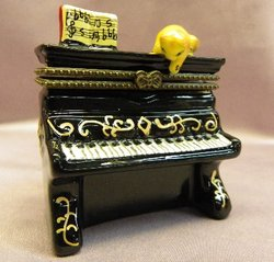 Upright Piano Limoge Style Trinket Box  #632