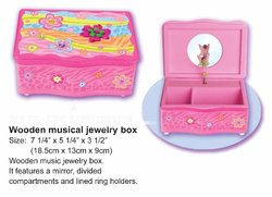Fairy with Flowers Wooden Musical Jewelry Box #310ff
