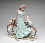 Porcelain Lady with Bicycle Figurine #P10414