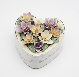 Porcelain Grandmother Heart Music Box