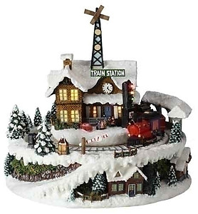 Animated Christmas Train Station Music Box #C35250