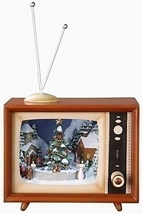 Animated Christmas Scene T.V Music Box #C36432