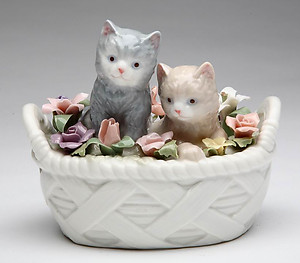 Porcelain Kittens in a Basket