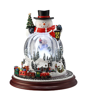 Double Snowman Musical Motion Waterglobe