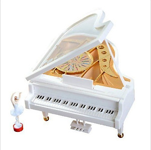 Baby Grand Musical White Piano With Ballerina #WP43265