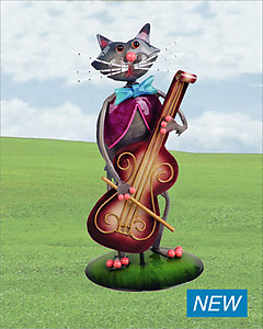 Cat With Cello Metallic Figurine # YDCC -