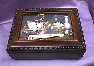 Violin with Sheet Music Rosewood Music Box # violinsheet