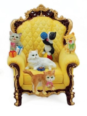 Wing Chair with Playful Cats Musical Box #14258