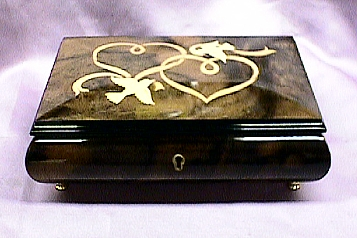 Double Heart with Doves Inlaid Italian Music Box #46db