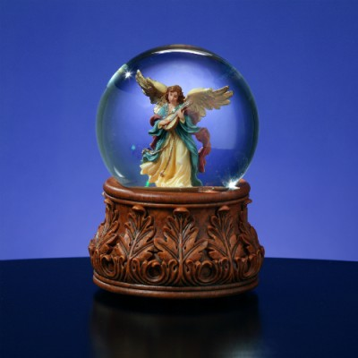 Angel Playing Mandolin Musical Water Globe  #49975