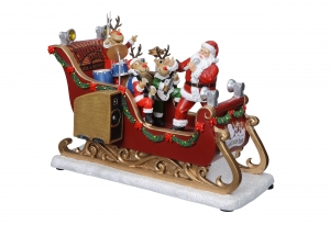 Santa & Reindeer Musical Band Sleigh Music Box  #96011