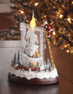 Santa Mountain Top Candle Music Box  #96012