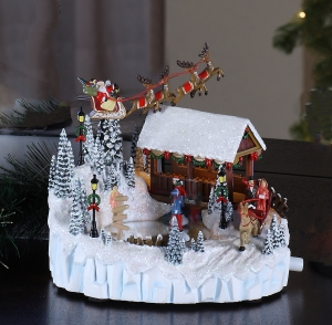 Santa/Wood Bridge Scene Music Box