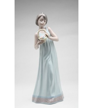 Girl Holding Basket of Flowers Porcelain Figurine #C10387