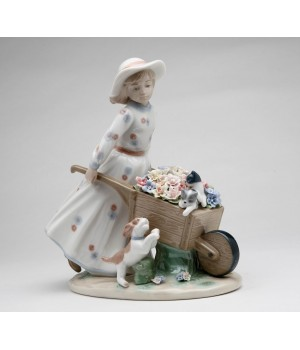 Girl with Flower Wagon Porcelain Figurine #C10389