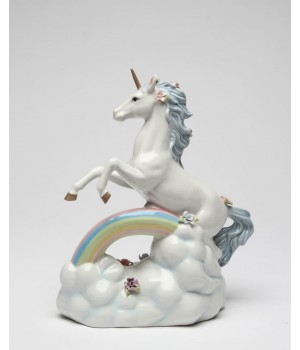 Unicorn Over The Rainbow Porcelain Music Box Figurine