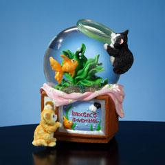 Kitty and Fish Musical Tilted Waterglobe  #SF51299