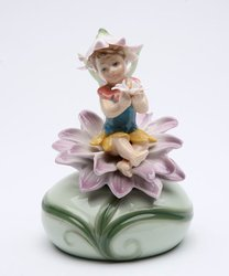 Fairy with Purple Flower Porcelain Music Box