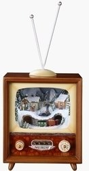 Animated Christmas Scene T.V Music Box #C36433