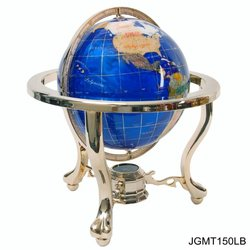 150mm Lapis Gemstone Globe on 3-Leg Gold Stand