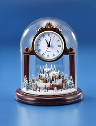 Christmas Village Musical Clock  #IC94051T