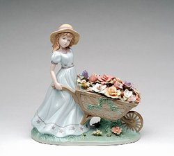 Porcelain Flower Cart Figurine #P96491