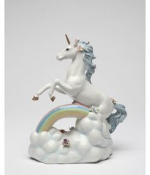 Unicorn Over The Rainbow Porcelain Music Box Figurine #C80118