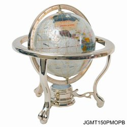 150mm Gemstone Globe Mother of Pearlon 3-Leg Gold Stand